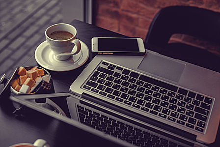 laptop, coffee and phone