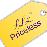 Price tag with value equalling priceless