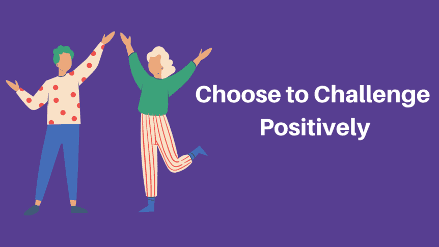 Two animated people high-fiving each other - choose to challenge positively